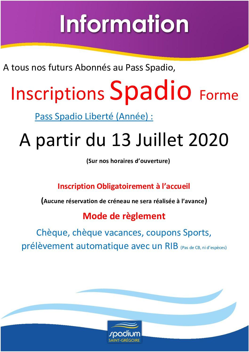 Inscriptions Spadio Liberté 2020/2021